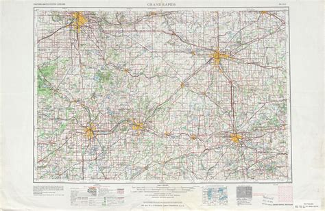 grand map us grand rapids topographic map sheet united states 1958