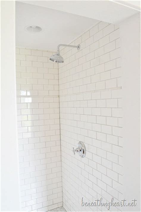 Inexpensive Bathroom Updates by White Subway Tile Shower Our Master Shower Is Finished