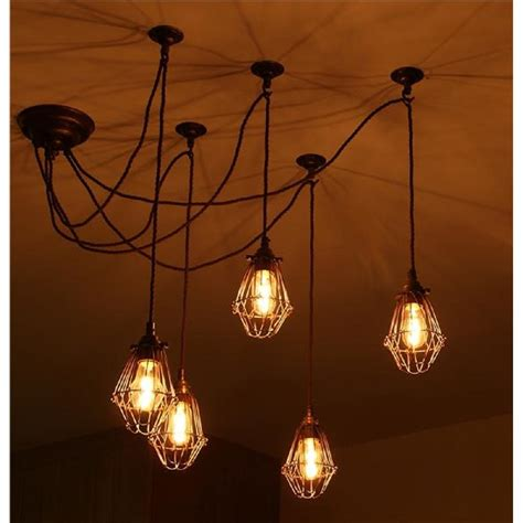Pendant Cluster Ceiling Light With 5 Industrial Style Cage