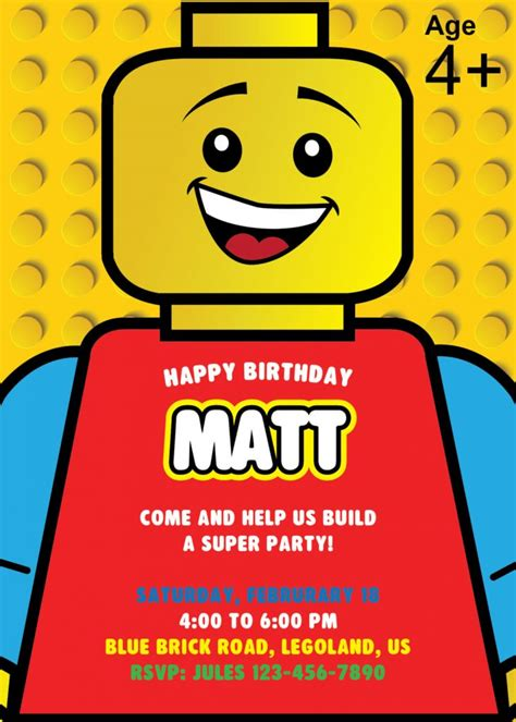 Lego Party Planning Ideas Supplies Children S Birthday Parties Partyideapros Com Lego Birthday Invitation Template