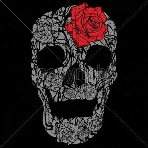 gothic tshirt red rose skull zombie dead bones biker