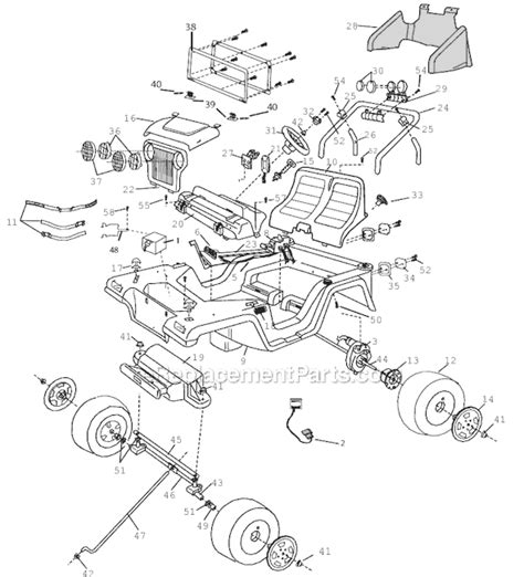 Cruisin Tunes Jeep Battery Power Wheels 74340 9993 Parts List And Diagram