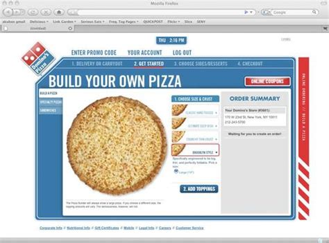 domino pizza online delivery domino s online ordering shows you your pizza as you build