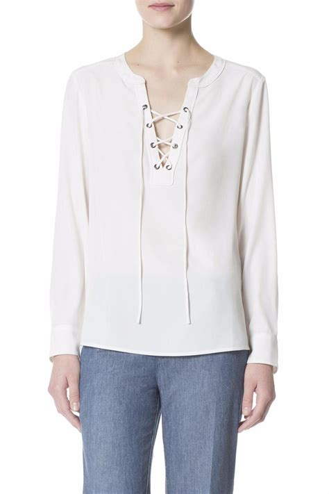 High Low Lace Up Shirt White L sanctuary lace up shirt from florida by marketplace on
