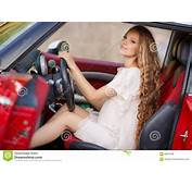 Pregnant Brunette Girl And Her Red Car Stock Photo  Image