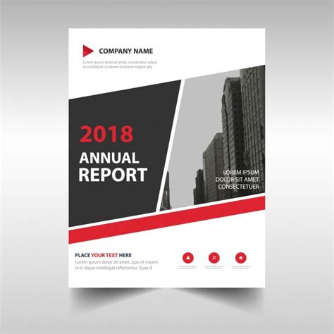 abstract red professional annual report template vector
