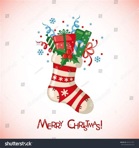christmas cards shutterstock greeting card sock gifts stock vector 491011975