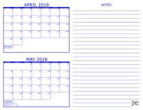 Calendar 2018 April May 2 Month Calendar 2018