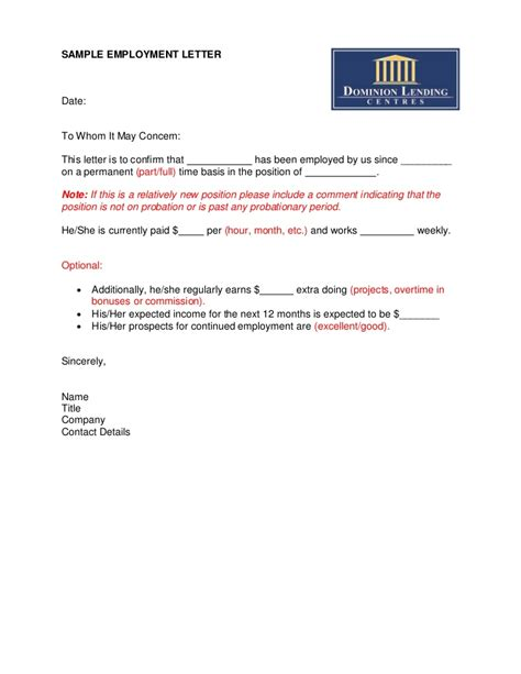 Mortgage Letter From Employer Template Sle Employment Letter