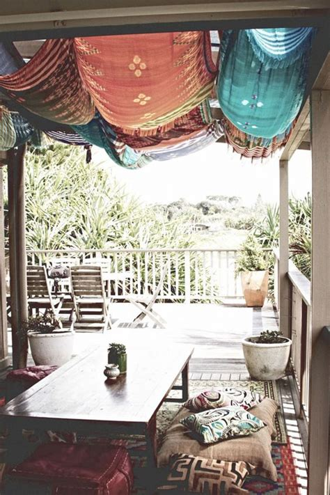 inspiring bohemian porch  colored textiles