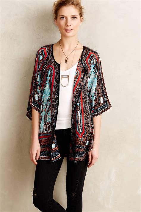 Cardigan Kimono Tolani Fluttered Silk Kimono Cardigan Lyst