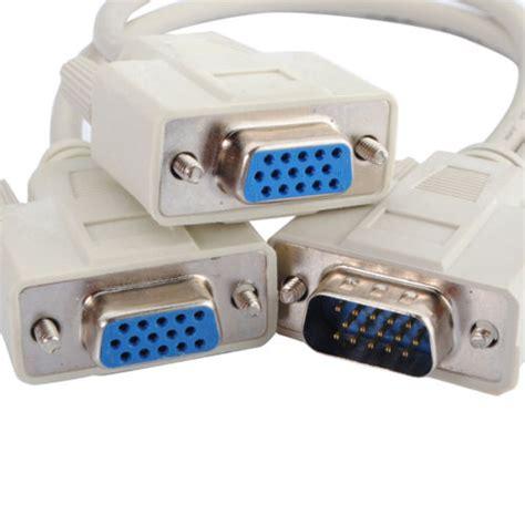 Splitter Connector Monitor Vga Dbsub 15 1 To 2 1 pc to 2 vga svga monitor y splitter cable 15 pin 1 vga