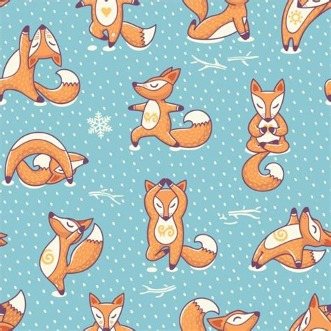 Yoga Pattern Vector | foxes yoga poses with seamless pattern vector vector