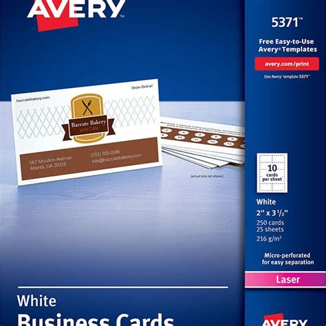 Avery 174 Business Cards For Laser Printers 5371 Avery Online Singapore Avery Business Card Template 5371