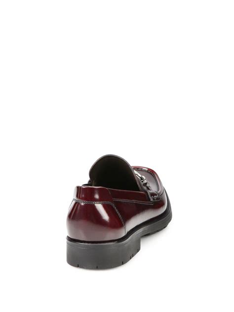 lug sole loafers ferragamo leather lug sole loafers in purple for lyst
