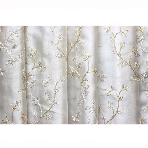 sheer curtain material royal leaves embroidered sheer curtain fabric drapery window