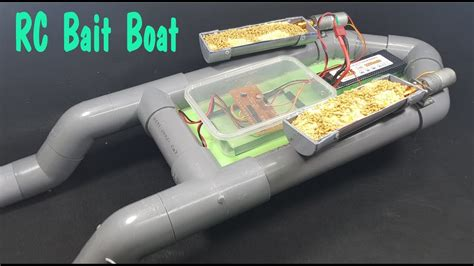 how to make a boat using motor how to make rc bait boat using pvc pipe youtube