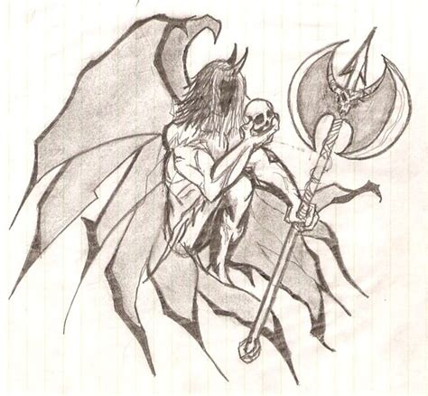 imagenes de angeles y demonios para dibujar a lapiz dibujo de demonio a lapiz imagui