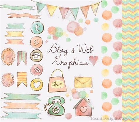 pattern background instagram watercolor blog and web graphics clipart social media
