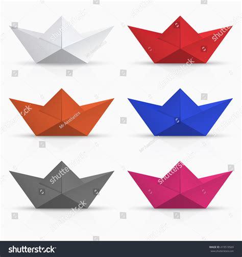 Modern Origami - vector modern origami boat set on stock vector 419519569
