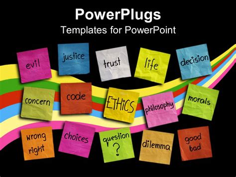 powerpoint templates for business ethics powerpoint template various colored sticky notes with