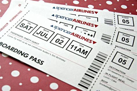 airplane ticket invitation printable birthday by