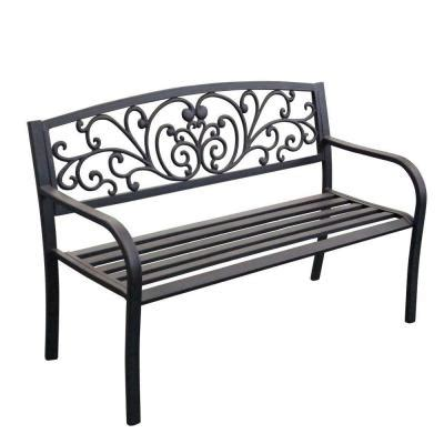 home depot park bench jeco 50 in scroll curved back steel park bench pb003