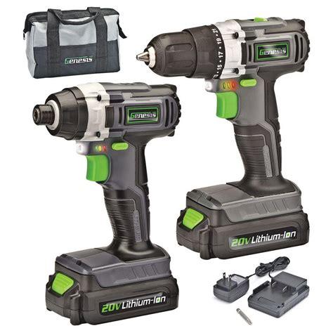 genesis tools genesis 20 volt lithium ion cordless drill impact driver