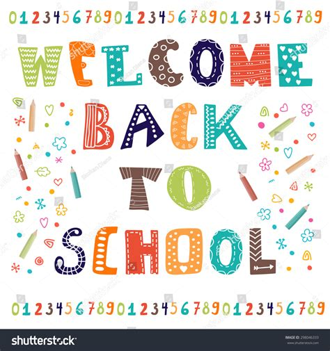 Welcome Back School Greeting Card Back Stock Vector 298046333 Shutterstock Welcome Back To School Postcard Template