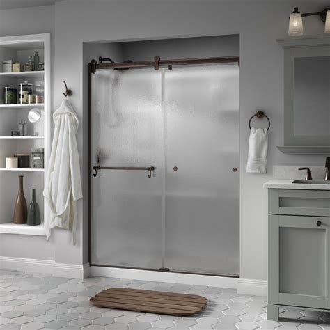 Rainx For Shower Doors Delta Portman 48 In X 71 In Semi Frameless Contemporary Sliding Shower Door In Bronze With