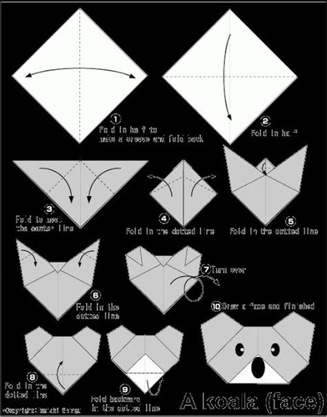 Origami Koala - easy origami for koala school writing