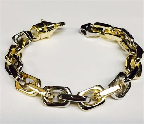 Handmade Gold Chains - 18k solid two tone gold handmade link s chain bracelet