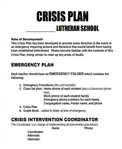 mental health crisis management plan template 28 images