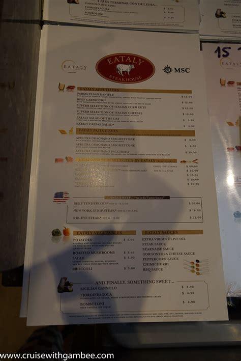 msc cruises divina menus cruise  gambee