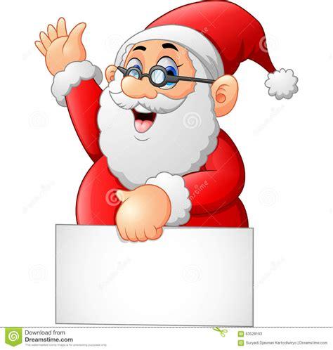 animated waving santa santa waving and holding blank sign stock illustration