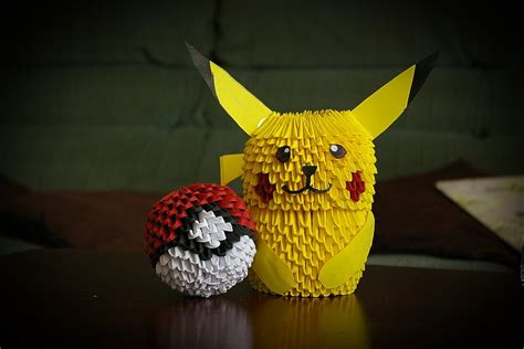 Pikachu Origami 3d - 3d origami pikachu and pokeball by pyrodragoness on deviantart