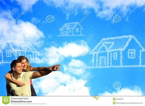 dreaming of a house happy couple under the blue sky dreaming of a hous stock image image 30848341