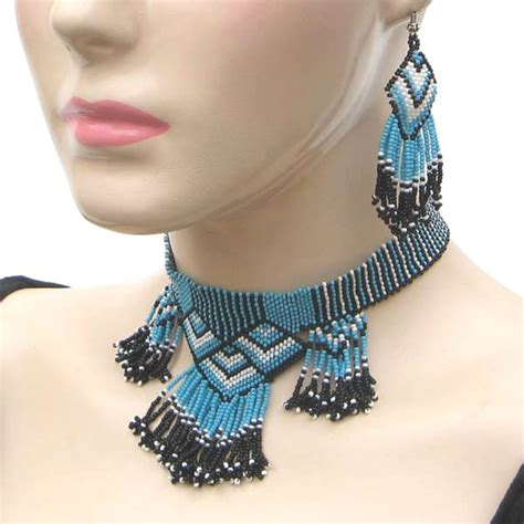 Beaded Eagle Choker handmade beaded blue choker necklace earrings set s17 2