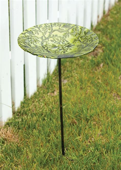 stained glass bird bath