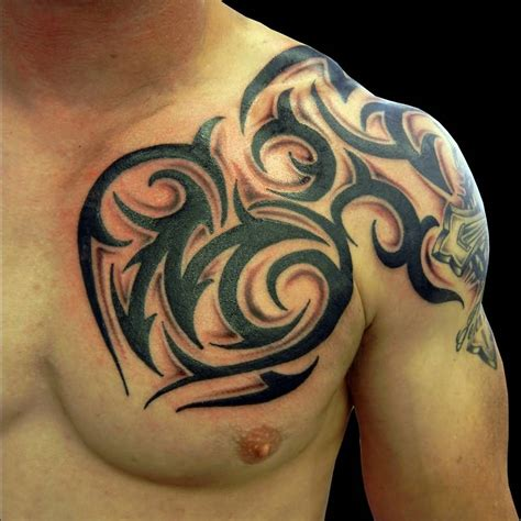 tattoo designs shoulder to chest 45 tribal chest tattoos for men