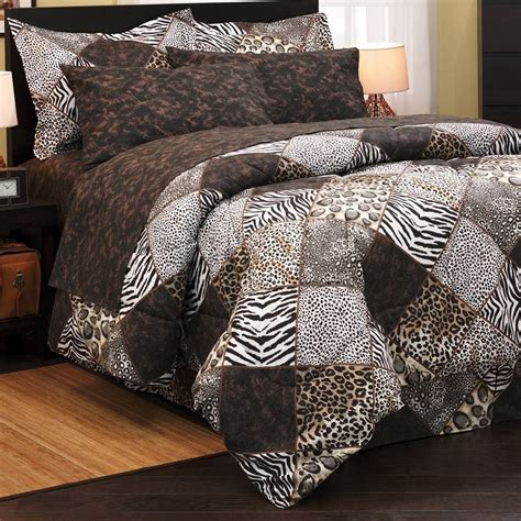 leopard zebra safari brown animal patch print queen size