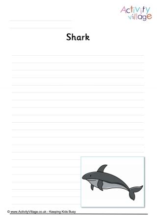 shark writing paper sea creature writing pages