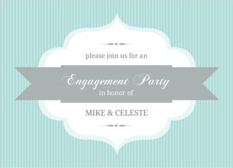 design engagement banner turquoise stripe and banner engagement party invite