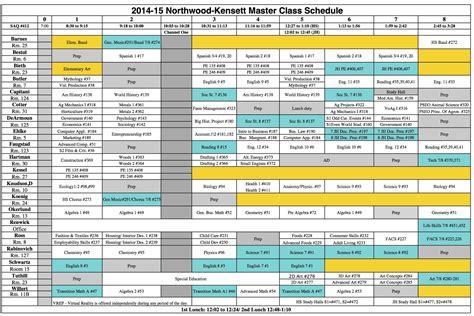 Northwood Kensett 2015 2016 High School Class Schedule Free School Master Schedule Template