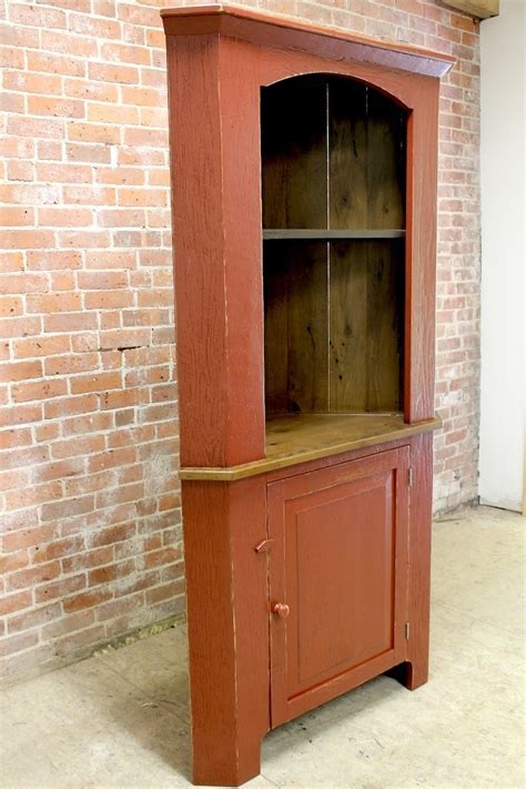 Open Corner Cabinet in Barn Red   ECustomFinishes