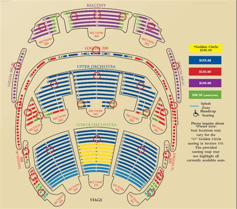 cirque du soleil o seating chart with seat numbers seating chart yelp