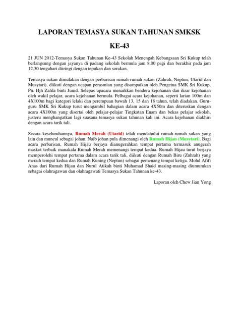 format laporan tahunan persatuan laporan temasya sukan tahunan smksk