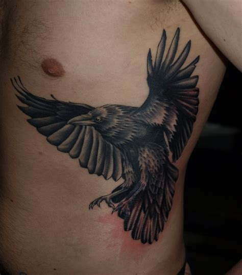 crow tattoos for men open wings flying for