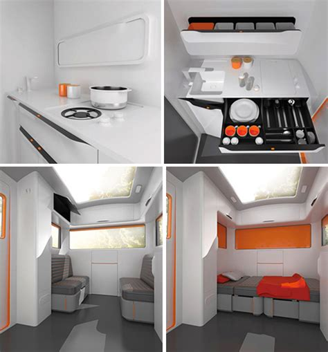 Clever Kitchen Designs Caravan Concept Brings Modern Sleekness To Rv Travel