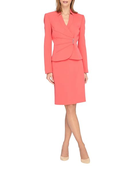 8 Pleated Pieces Of Clothing by Tahari 2 Pleated Jacket And Skirt Set In Pink Lyst